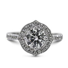 Load image into Gallery viewer, 2 CARAT ROUND BRILLIANT CUT UNIQUE STYLE HALO DIAMOND RING - 14K WHITE SOLID GOLD #J99991