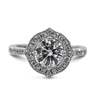 2 CARAT ROUND BRILLIANT CUT UNIQUE STYLE HALO DIAMOND RING - 14K WHITE SOLID GOLD #J99991