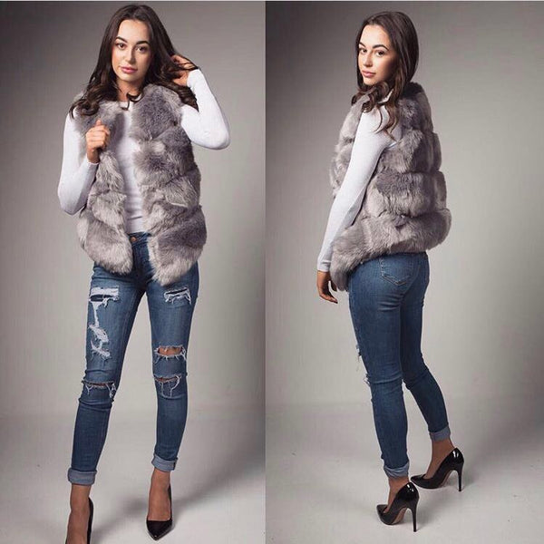 Ruby Grey Faux Fur Ribbed Gillet - Pretty Rebel