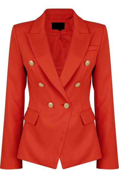 Red golden button double breast blazer - eden, Prettyrebel.com