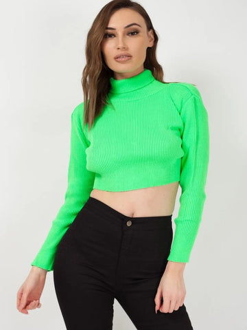 NEON GREEN ROLL NECK KNITTED CROPPED JUMPER - LUCY, Prettyrebel.com