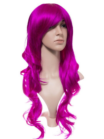 Cerise Long Curly Party Wig