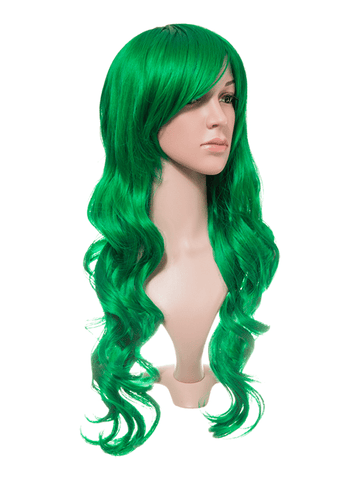 Apple Green Long Curly Party Wig