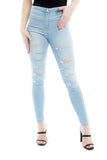 Bleach denim multi slash high waist jeans - ava, Prettyrebel.com