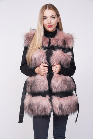 'Larice' Pink Thick Chunky Faux Fur Panel Belted Gilet - Pretty Rebel