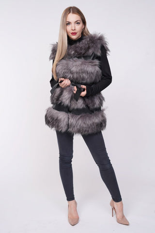 'Larice' Grey Thick Chunky Faux Fur Panel Belted Gilet - Pretty Rebel