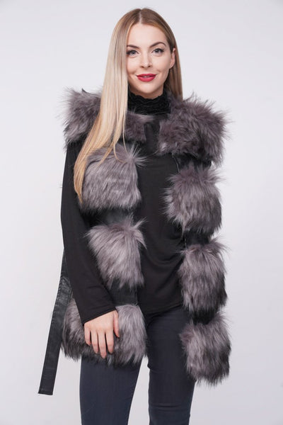 'Larice' Grey Thick Chunky Faux Fur Panel Belted Gilet, Prettyrebel.com