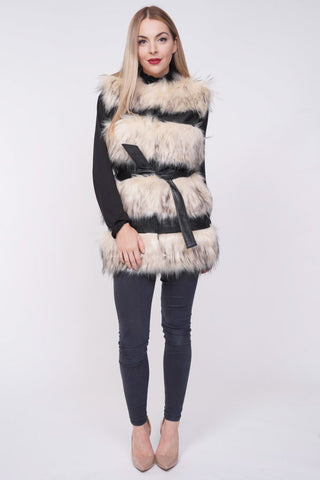 'Larice' Beige Thick Chunky Faux Fur Panel Belted Gilet - Pretty Rebel