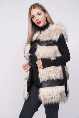 'Larice' Beige Thick Chunky Faux Fur Panel Belted Gilet, Prettyrebel.com