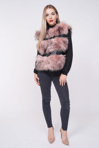 'Ellice' Pink Thick Chunky Faux Fur Panel Gilet - Pretty Rebel
