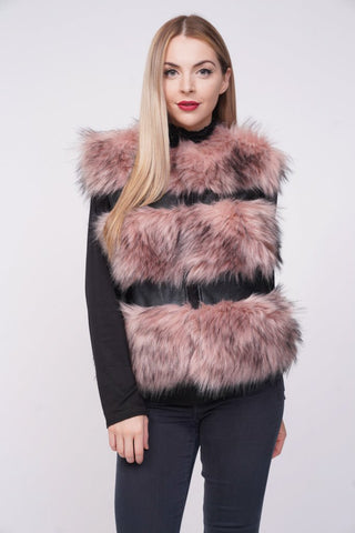 'Ellice' Pink Thick Chunky Faux Fur Panel Gilet, Prettyrebel.com