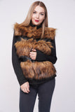 'Ellice' Brown Thick Chunky Faux Fur Panel Gilet, Prettyrebel.com