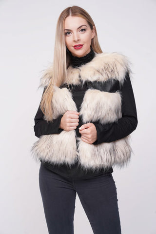 'Ellice' Cream Thick Chunky Faux Fur Panel Gilet, Prettyrebel.com