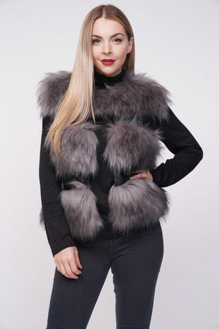 'Ellice' Grey Thick Chunky Faux Fur Panel Gilet, Prettyrebel.com