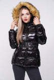 'Zara' Black Shiny Wetlook Belted Faux Fur Hood Quilted Puffer Jacket, Prettyrebel.com