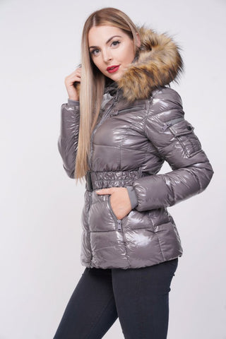 'Zara' Grey Shiny Wetlook Belted Faux Fur Hood Quilted Puffer Jacket - Pretty Rebel