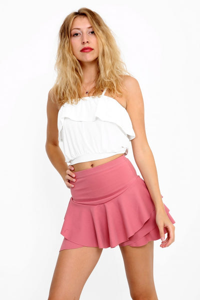 Amelia Dusky Pink Layered Frill Skort shorts - Pretty Rebel