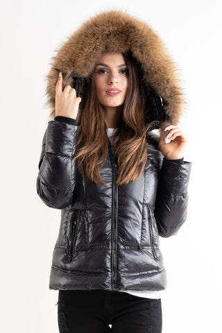 'Lucy' Black Shiny Real Fur Hood Quilted Puffer Coat, Prettyrebel.com
