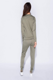 Ella Khaki Green Zip Lounge Track Suit Set, Prettyrebel.com