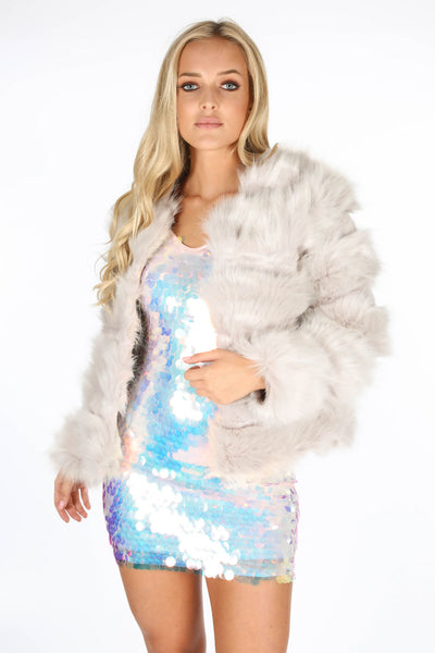 Isabella Light Grey Faux Fur Jacket, Prettyrebel.com