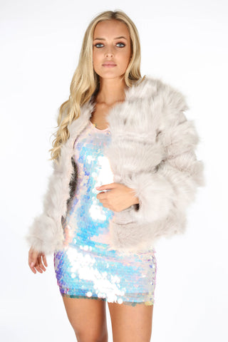 Isabella Silver Faux Fur Jacket - Pretty Rebel