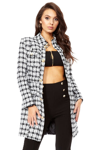 Long Gold Button Tweed Jacket - Pretty Rebel