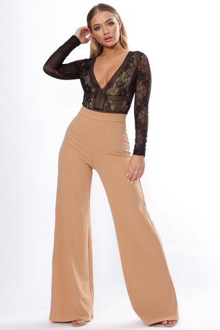 Nude High Waist Wide Leg Trouser - Pretty Rebel