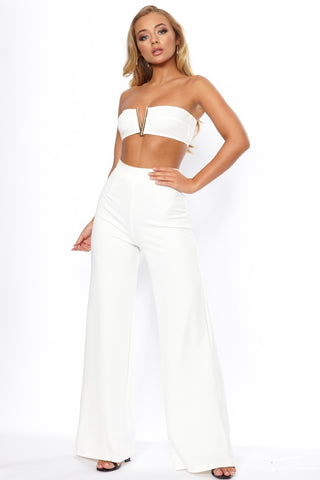 Cream High Waist Wide Leg Trouser - Pretty Rebel