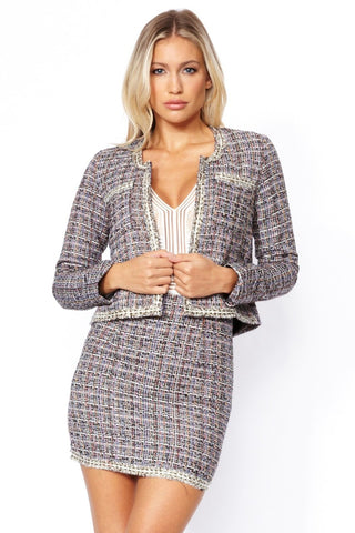 Elisa Boucle Blazer & Mini Skirt Set - Pretty Rebel