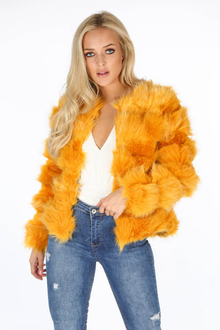 Isabella Mustard Faux Fur Jacket - Pretty Rebel