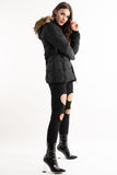 'Lilly' Black Belted Faux Fur Hood Quilted Puffer Jacket