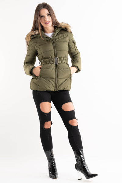 'Lilly' Khaki Belted Faux Fur Hood Quilted Puffer Jacket