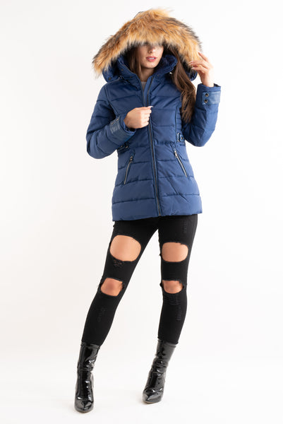 'Emily' Blue Quilted Faux Fur Hood Puffer Jacket, Prettyrebel.com