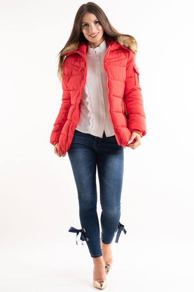 'Lilly' Red Belted Faux Fur Hood Quilted Puffer Jacket, Prettyrebel.com