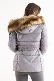 Gracie grey belted faux fur hood quilted puffer jacket, Prettyrebel.com
