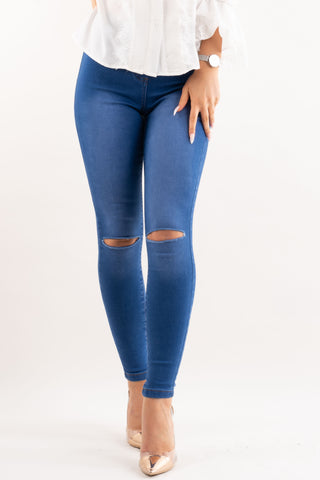 Dark Denim Ripped Knee Skinny Jeans, Prettyrebel.com