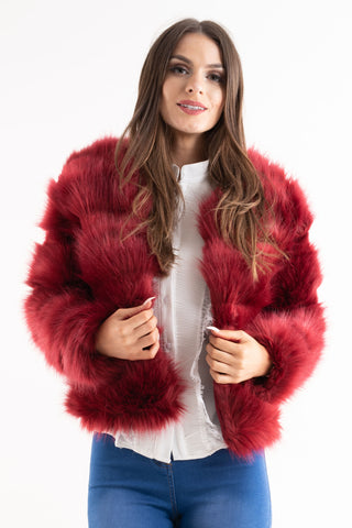 'Leyla' Red Super Soft Faux Fur Jacket - Pretty Rebel