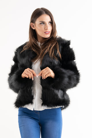 'Leyla' Black Super Soft Faux Fur Jacket - Pretty Rebel