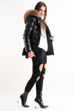 'Luxe' Black Half Shine Effect Real Fur Hood Puffer Jacket, Prettyrebel.com