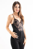 'Elice' Black Lace Eyelash Bodysuit