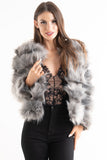 'Leyla' Grey Super Soft Bubble Faux Fur Jacket, Prettyrebel.com