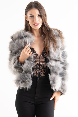 'Leyla' Grey Super Soft Faux Fur Jacket - Pretty Rebel