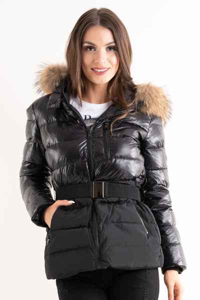 'Luxe' Black Half Shine Effect Real Fur Hood Puffer Jacket