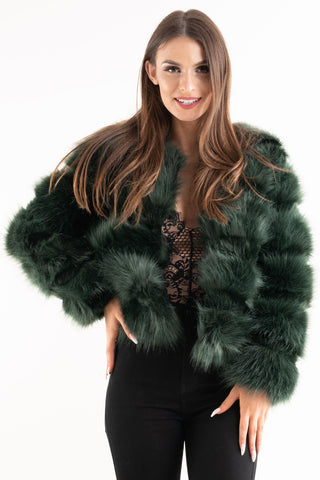 'Leyla' Teal Super Soft Faux Fur Jacket - Pretty Rebel