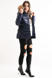 'Luxe' Navy Half Shine Effect Real Fur Hood Puffer Jacket, Prettyrebel.com