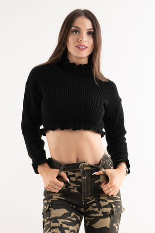 'Leah' Black Ruffle Detail Cropped Knitted Jumper - Pretty Rebel