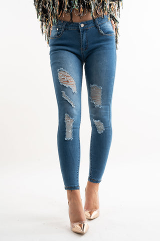 Indigo Distressed Skinny Jeans - Pretty Rebel