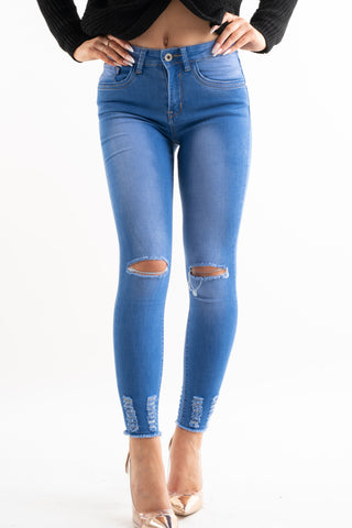 Lola Distressed Skinny Jeans With Frayed Ankles
