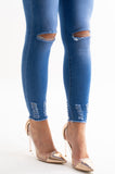 Lola Distressed Skinny Jeans With Frayed Ankles, Prettyrebel.com