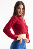 'Leah' Red Ruffle Detail Cropped Knitted Jumper, Prettyrebel.com